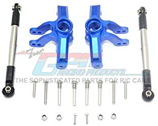GPM Losi 1/10 Baja Rey 4WD Desert Truck (LOS03008) Upgrade Parts Aluminum Front Knuckle Arm + Stainless Steel Adjustable Tie Rods - 18Pc Set Blue