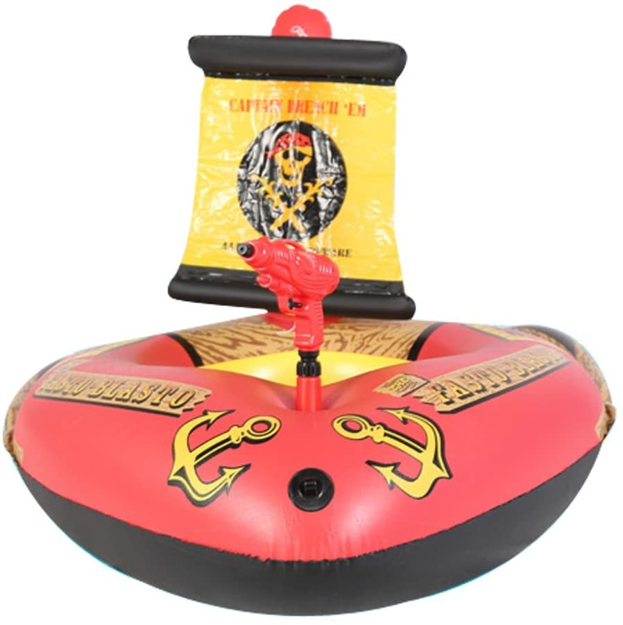 LSM store Childrens Inflatable Swimming Ring, Pirate Ship seat, Water Spray Childrens Swimming Boat