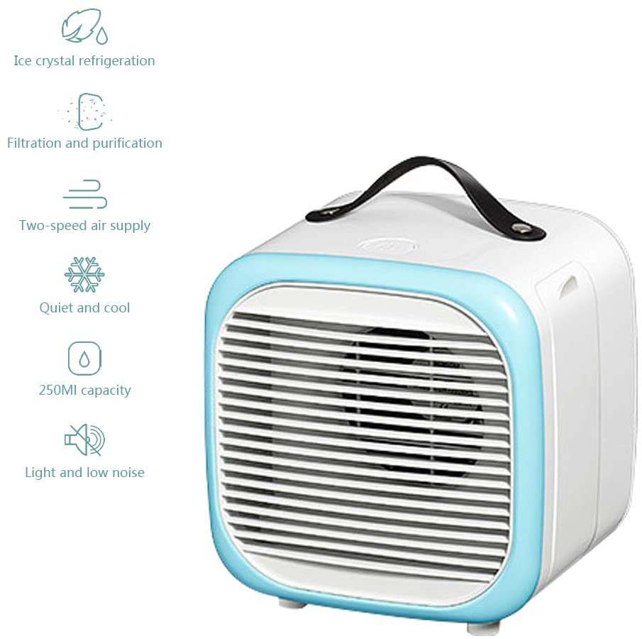 ELQ Personal Mini Air Cooler Humidifier/Portable Air Conditioner Fan, 2 Speeds Settings, Desktop Cooling Fan for Office, Home, Travel,Blue