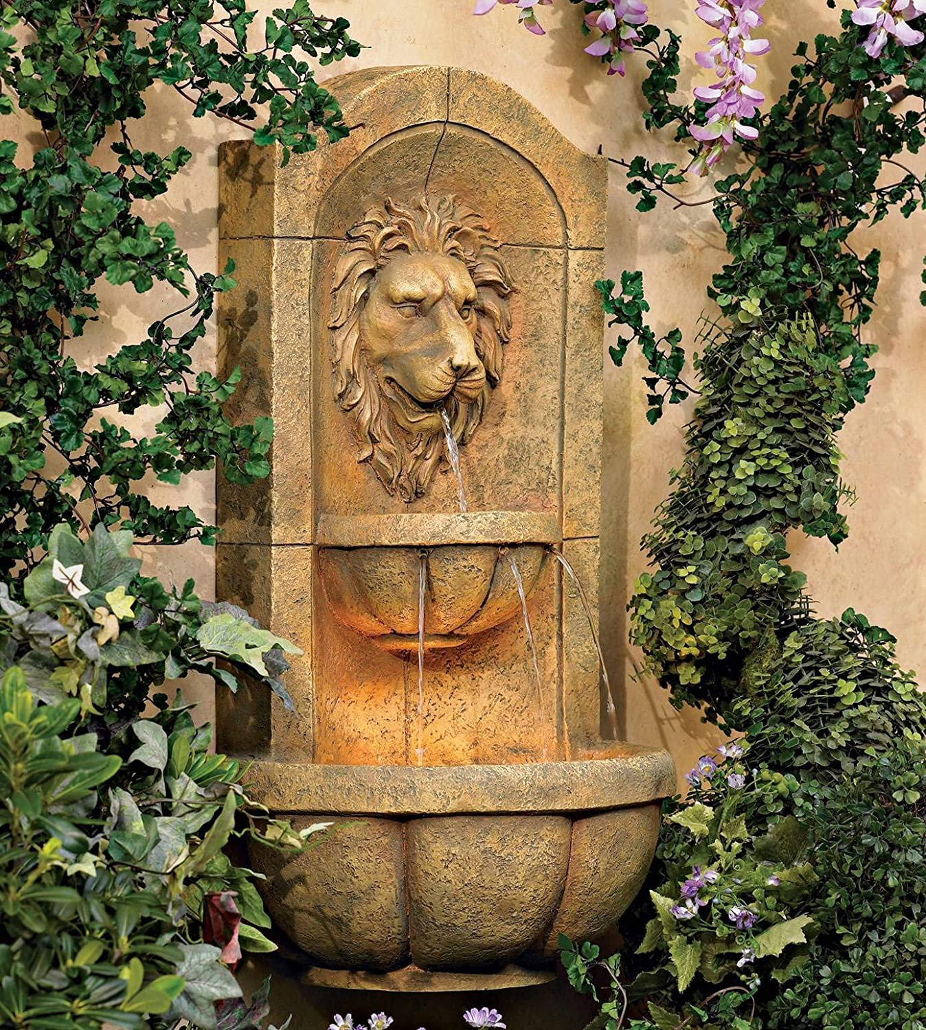 John Timberland Lion Head Roman Outdoor Wall Water Fountain with Light LED 29 1/2