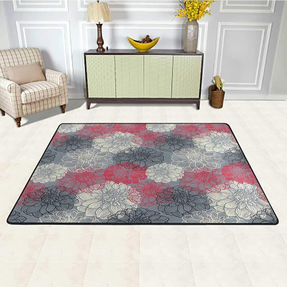 Dahlia Flower Decor Kids Area Rugs 3' x 5', Hand Drawn Repeating Big and Small Flowers Motif with Color Element Effects Kids Play Rug, Multi