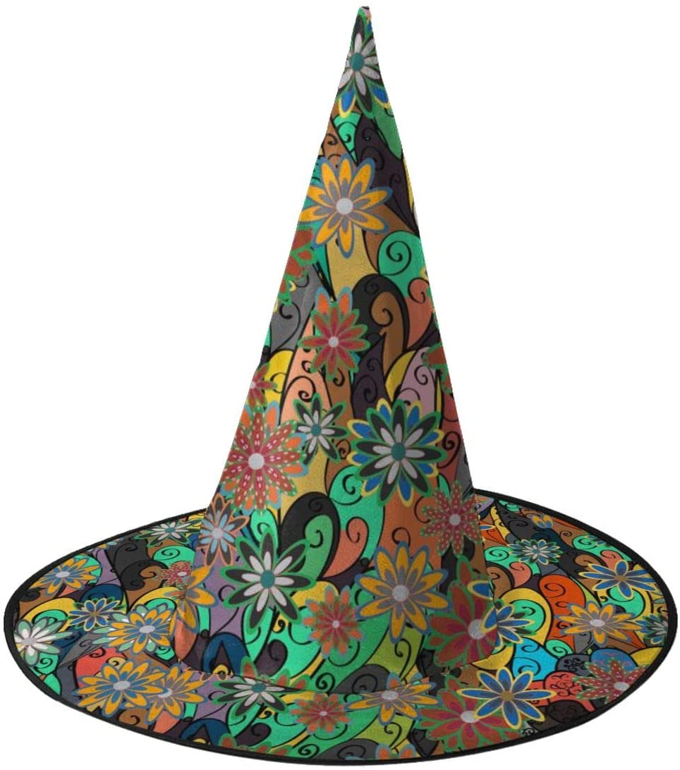 Halloween Witch Hat,Cartoon Hand-Drawn Doodles. Halloween Costume Witch Hat for Holiday Party