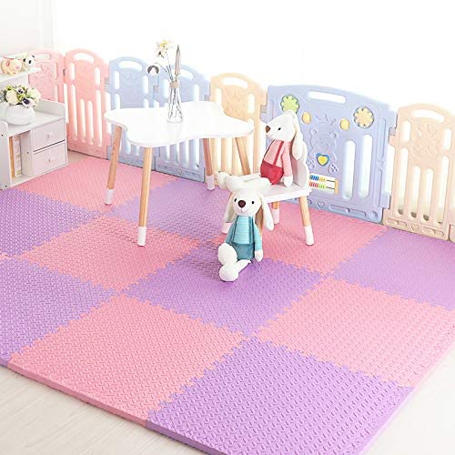 HOMRanger Solid Color Interlocking Carpet,Large Kid's Puzzle Exercise Foam Crawling Play Mat Puzzle Rug for Tiles Living Room D 60602.0cm(12 Pcs)