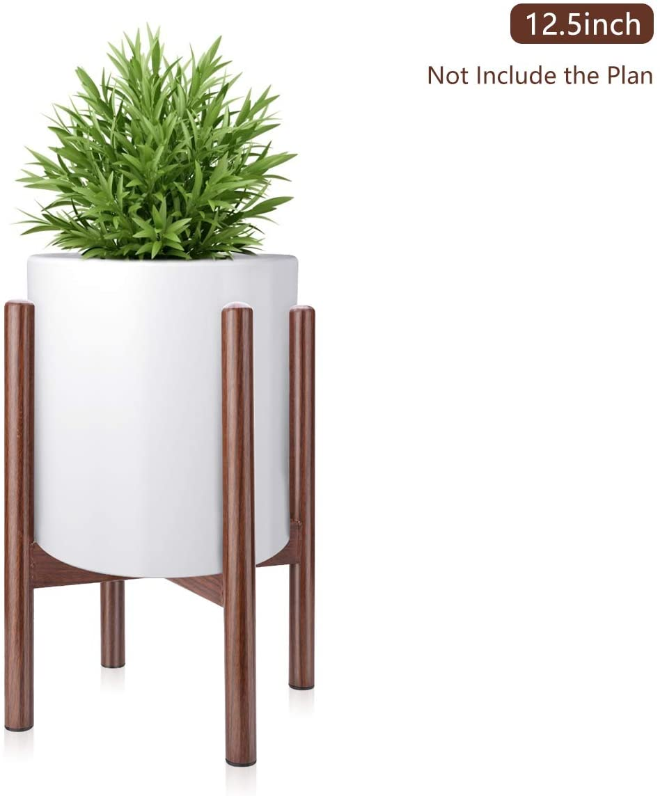 Mid Century Modern Plant Stand - Indoor Plant Holders for Pot Flower Plant Display or House Room Garden Decorative (12.5 inch, Dark Brown)