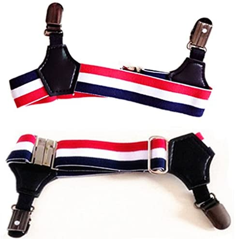 MNYR 2pcs Red/White/Blue Stripes Sexy Double Clip Thick Thin Fashion Women Men Sock Garter Suspender Costume Cosplay Accessories