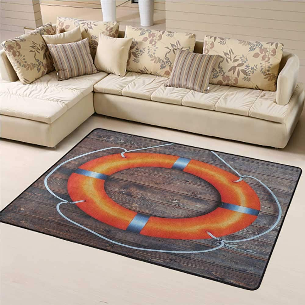 Machine Washable Rug Buoy Kids Play Rug A Life Buoy on The Wooden Wall Lifesaver Safety Emergency Rescue Equipment 3 x 5 Ft Orange Grey Brown
