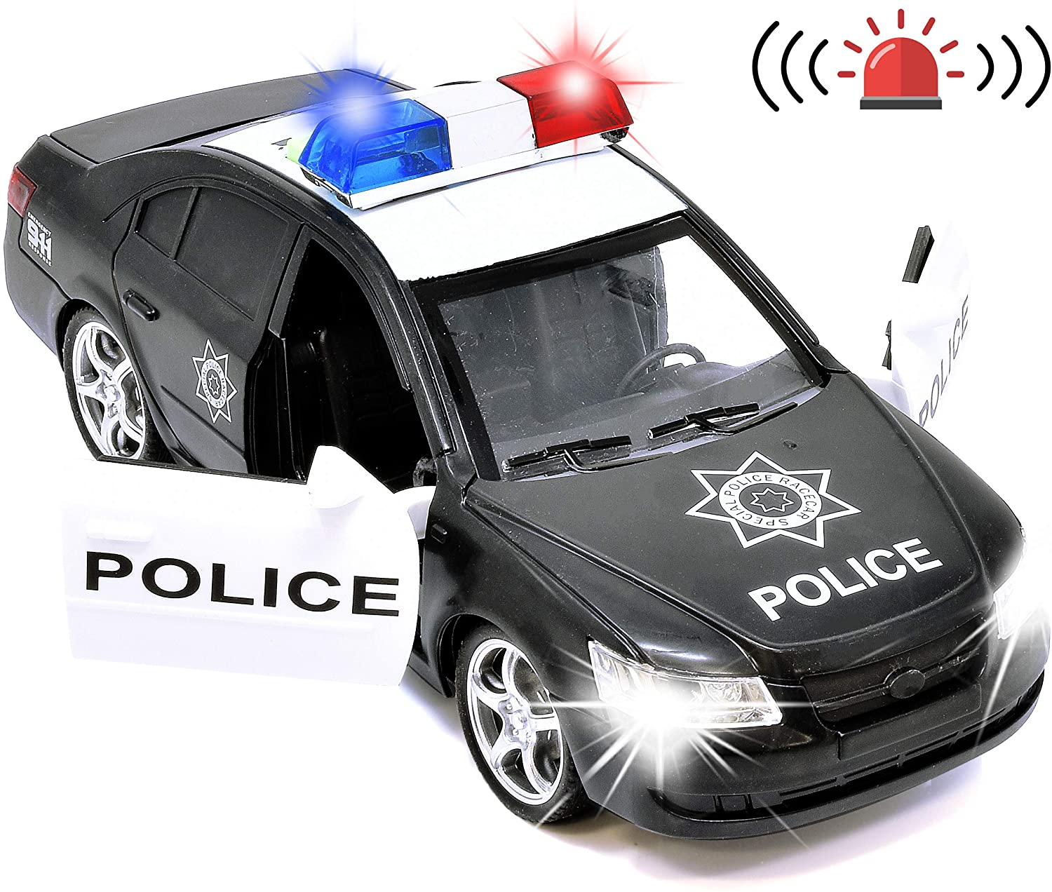 Number 1 in Gadgets Police Car Toy Friction Powered Rescue Vehicle with Lights and Siren Sounds for Boys Toddlers and Kids, Push and Go Pull Back Diecast Emergency Transport Vehicle Car