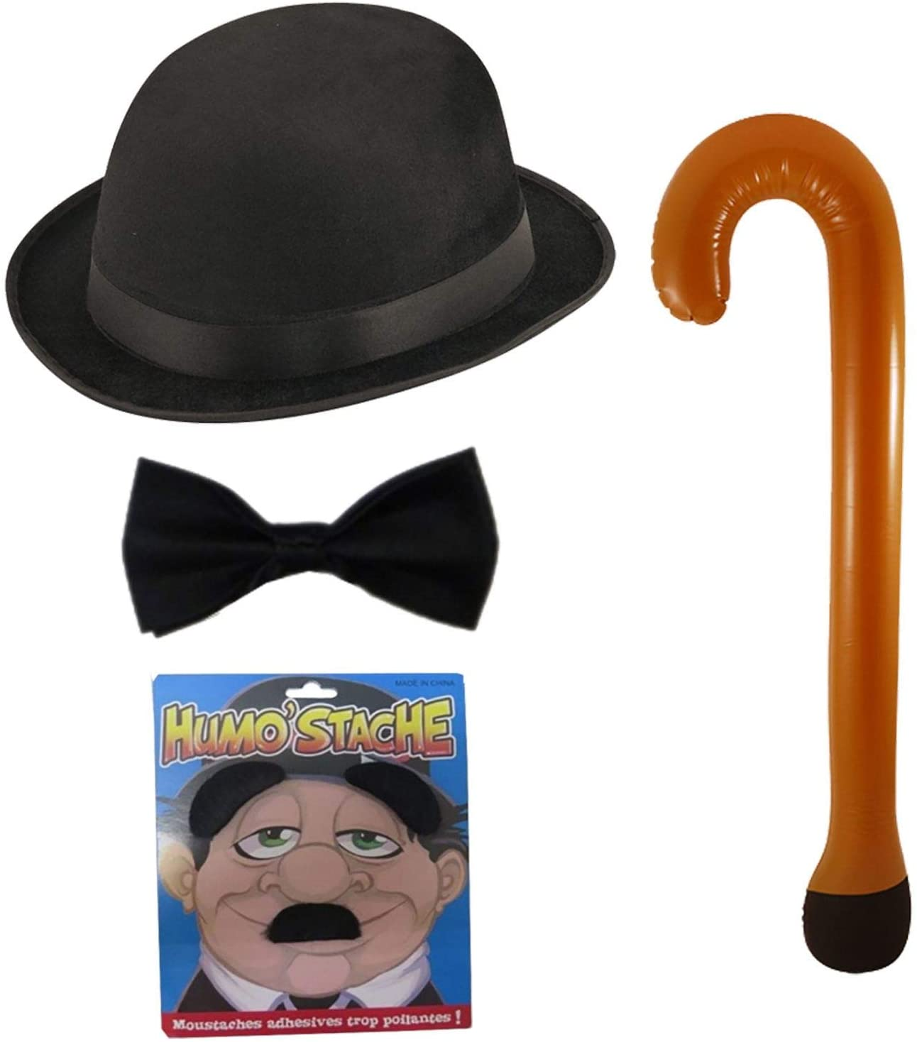Rimi Hanger Adults Inflatable Walking Stick Bowler Hat Bow Tie Mustache Set Stag Party Kit (426337+WA1062+X99029+WF3577)