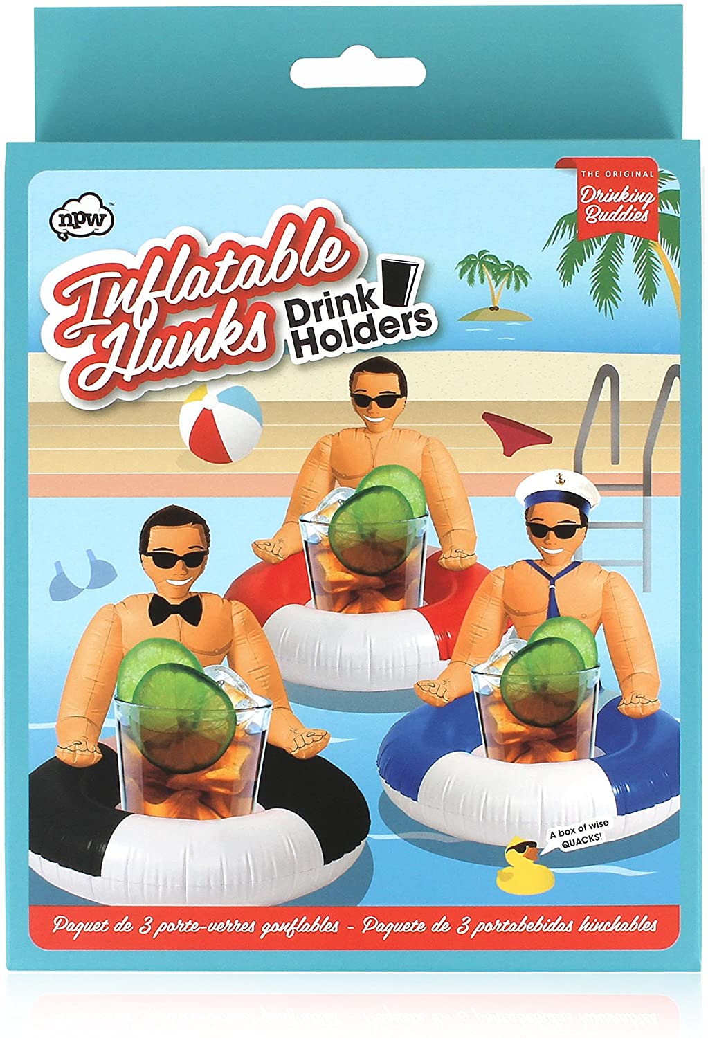 NPW Inflatable Drink Holders, Set of 3, Hunk