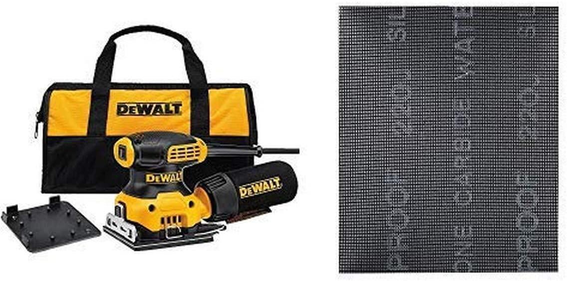 DEWALT DWE6411K 1/4 Sheet Palm Grip Sander Kit with DEWALT DWAM4323 120 Grit Mesh Sheet (5 Sheets), 1/4