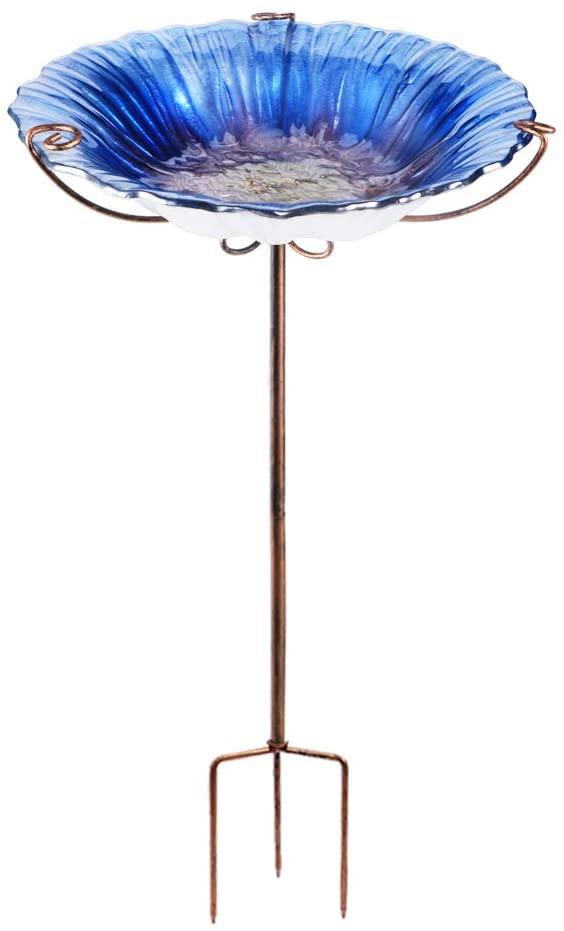 VCUTEKA Outdoor Bird Bath Glass Birdbath Garden Bird Feeder with Metal Stake (R-Blue)