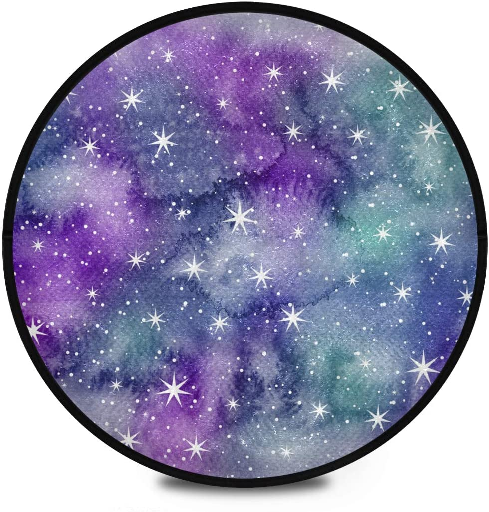 Shaggy Round Mat Watercolor Galaxy Round Rug for Kids Bedroom Anti-Slip Rug Room Carpets Play Mat