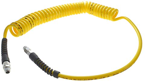 Advanced Technology Products TT-16-2.5-Y-SS Technithane Spiral Tubing, NPT Swivel Fittings, 11 mm Hose ID, 2.5 m Total Length, 140 psi Working Pressure, 11