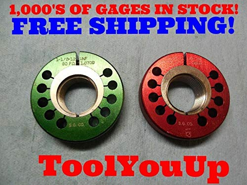 1 1/8 12 UNF 3A Thread Ring GAGES 1.125 GO NO GO P.D.'S = 1.0709 & 1.0664 TOOLIN