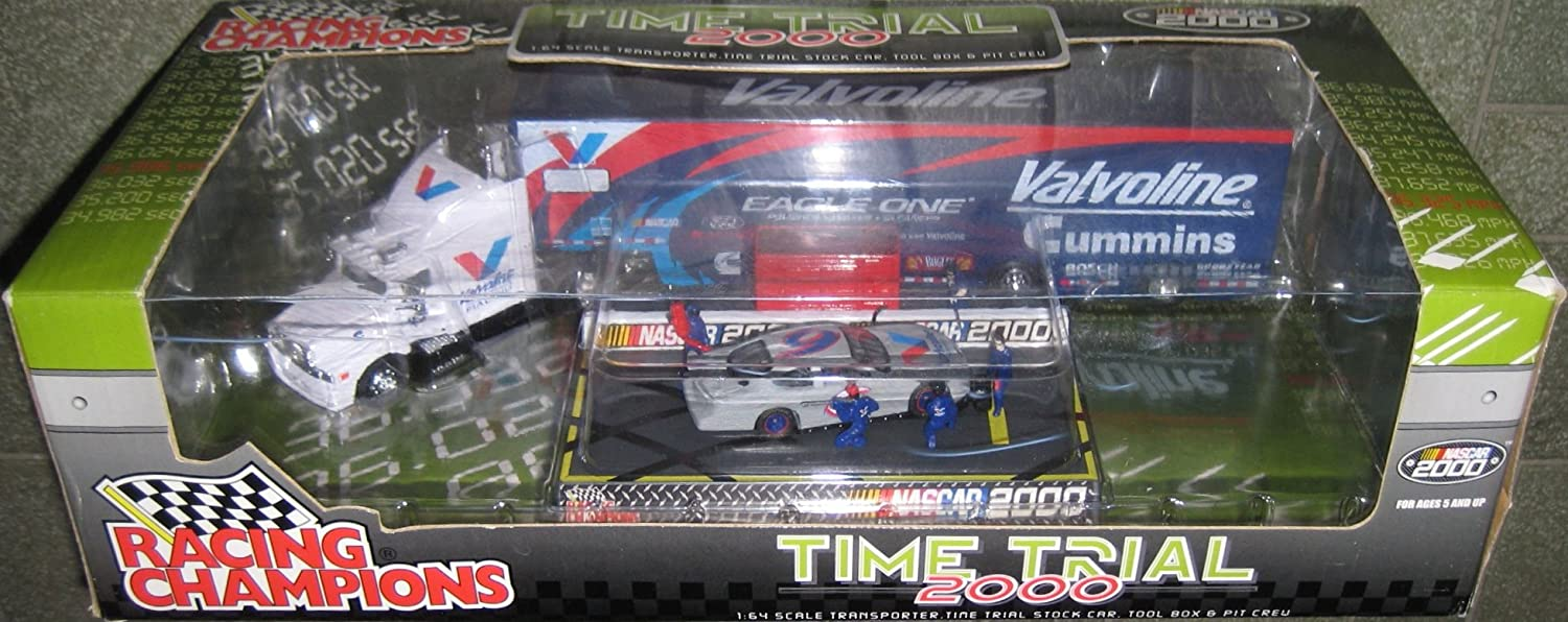 Mark Martin #6 Valvoline Transporter, Stock Car, Tool Box & Pit Crew Diecast Nascar Time Trail 2000 1:64 Scale