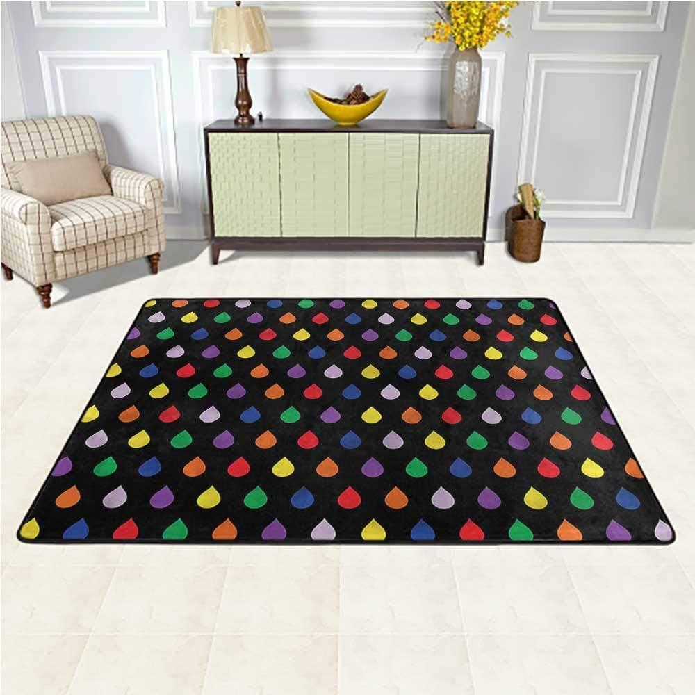 Carpet Colorful, Rainbow Colored Downpour Bedside Carpet for Kids Living Room Nursery Home Decor 4 x 4 Feet