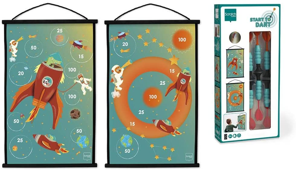 Scratch Active Play: Start to Dart Space 38x60cm, 2-Side Printing, with 6 Suction Cup Darts, in Box, 3+