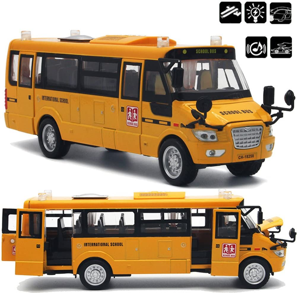 HUIFEIDEYU Cartoon Car Model for Kids Bus Toy | Large Pull Back Alloy Die-cast School Bus with Openable Doors Lights Sound for Children