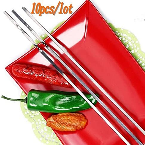 New 10pcs 45cm/40cm Stainless steel Flat BBQ Sticks Barbeque Skewers Kebab BBQ Stickers Grill Barbecue Accessories (40cm)