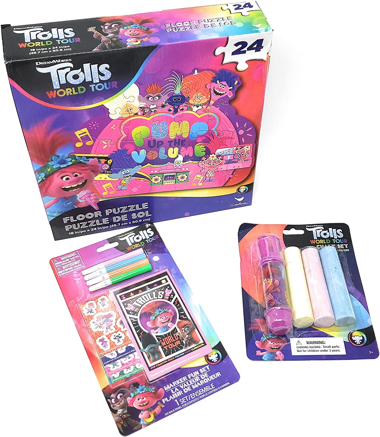 TLC Girls Boys Toddlers Kids Fun Play Indoor/Outdoor (1) Trolls World Tour 24 Piece Floor Puzzle (1) Mini Marker Stationary Fun Set and (1) 3 Piece Chalk with Holder Bundle Set
