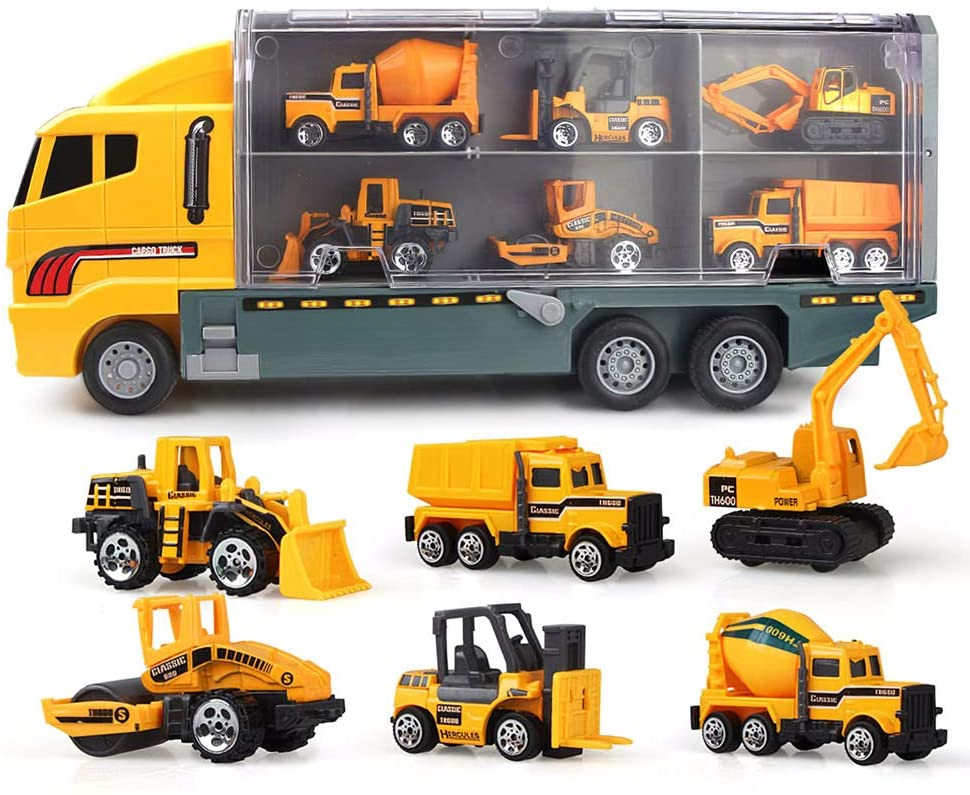 Walmeck- 6 in 1 Alloy Die-Cast Construction Truck Vehicle Carrier Truck with a Forklift Bulldozer Road Roller Mixer Truck Dump Truck and Excavator Car Ejection Function Carrying Truck