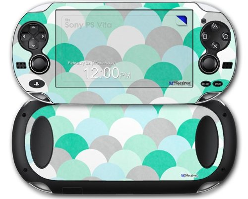 Brushed Circles Seafoam - Decal Style Skin fits Sony PS Vita