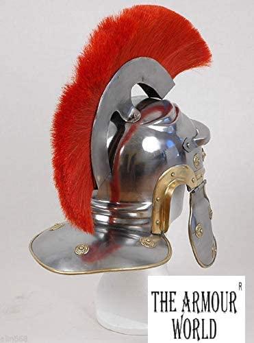 THE ARMOUR WORLD Roman Centurion Helmet w/Red Plume Armor | Medieval Metal Replica Helm | Soldier Costume Gladiator Silver