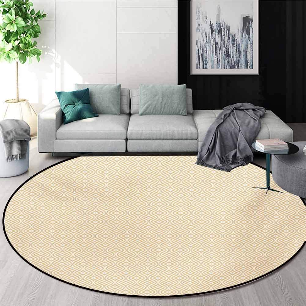 RUGSMAT Vintage Non-Slip Area Rug Pad Round,Geometric Repeating Pattern with Nested Squares Shabby Colored Checked Design Protect Floors While Securing Rug Making Vacuuming,Round-24 Inch