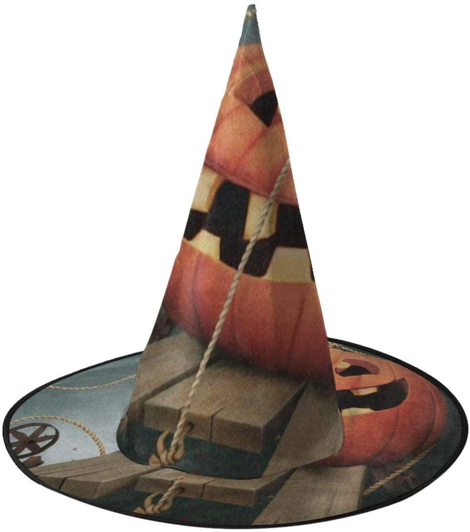 Halloween Witch Hat,Holiday Fun Pumpkin Moon Bat Halloween Costume Witch Hat for Holiday Party
