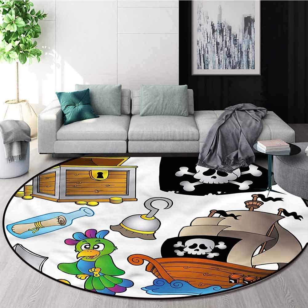 RUGSMAT Pirate Washable Creative Modern Round Rug,Jolly Roger Flag Ship Non-Slip No-Shedding Kitchen Soft Floor Mat Round-39