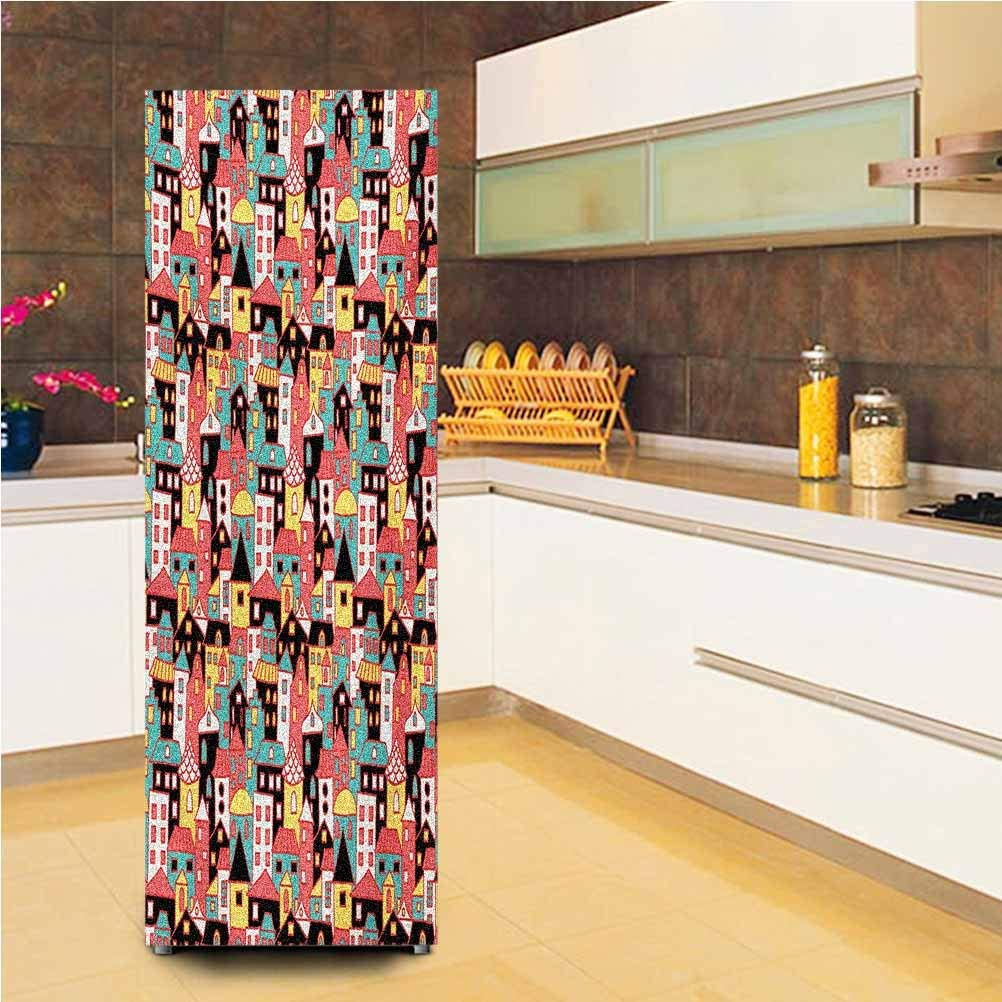 3D Door Wall Fridge Door Stickers Mural,Doodle Style Colorful Town Illustration Cartoon City Design Urban Architecture Theme Vinyl Door Cover Refrigerator Stickers,24x59,for Refrigerator,Multicolor