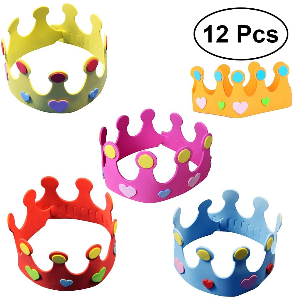 12pcs EVA Party Hats Birthday Hats DIY Birthday Crown Hat Nursery Crown Hat for Kids (Random Color) for Party Supplies