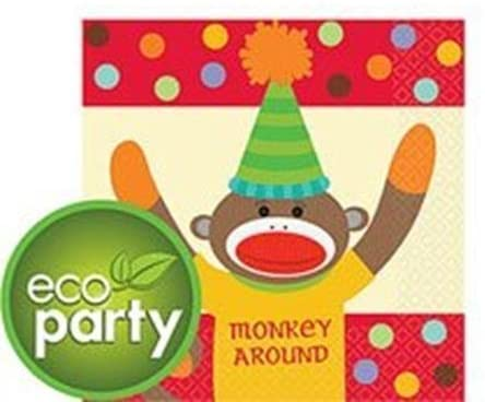 16 pc Sock Monkey Birthday Party Beverage Napkins