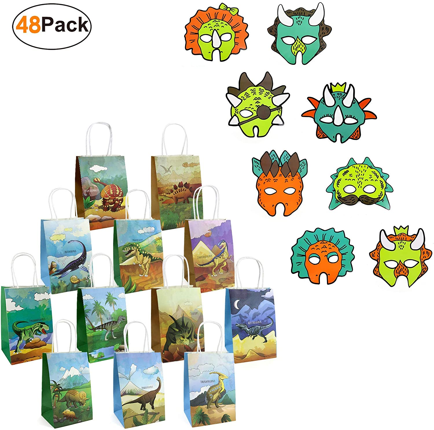 24 Pieces Dinosaur Party Supplies Favor Paper Bags and Dino Masks Set of 24 Birthday Accessories for Kids Boys Girls Jurassic World Party