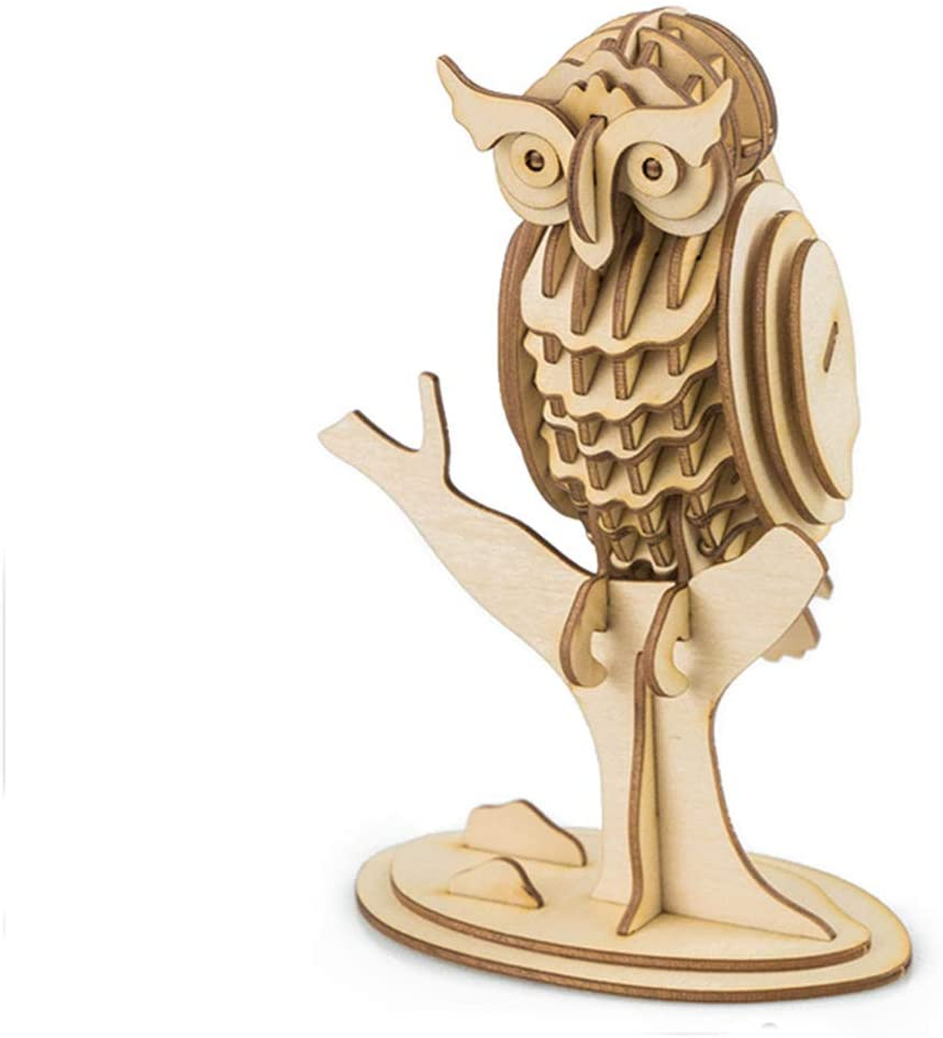 3D Wooden Puzzles, Owl Animal Shape Jigsaw Puzzles, Word Building Puzzles, Handmade DIY Assembly Construction Woodcraft, Wood Blocks Toy for Kids and Adults