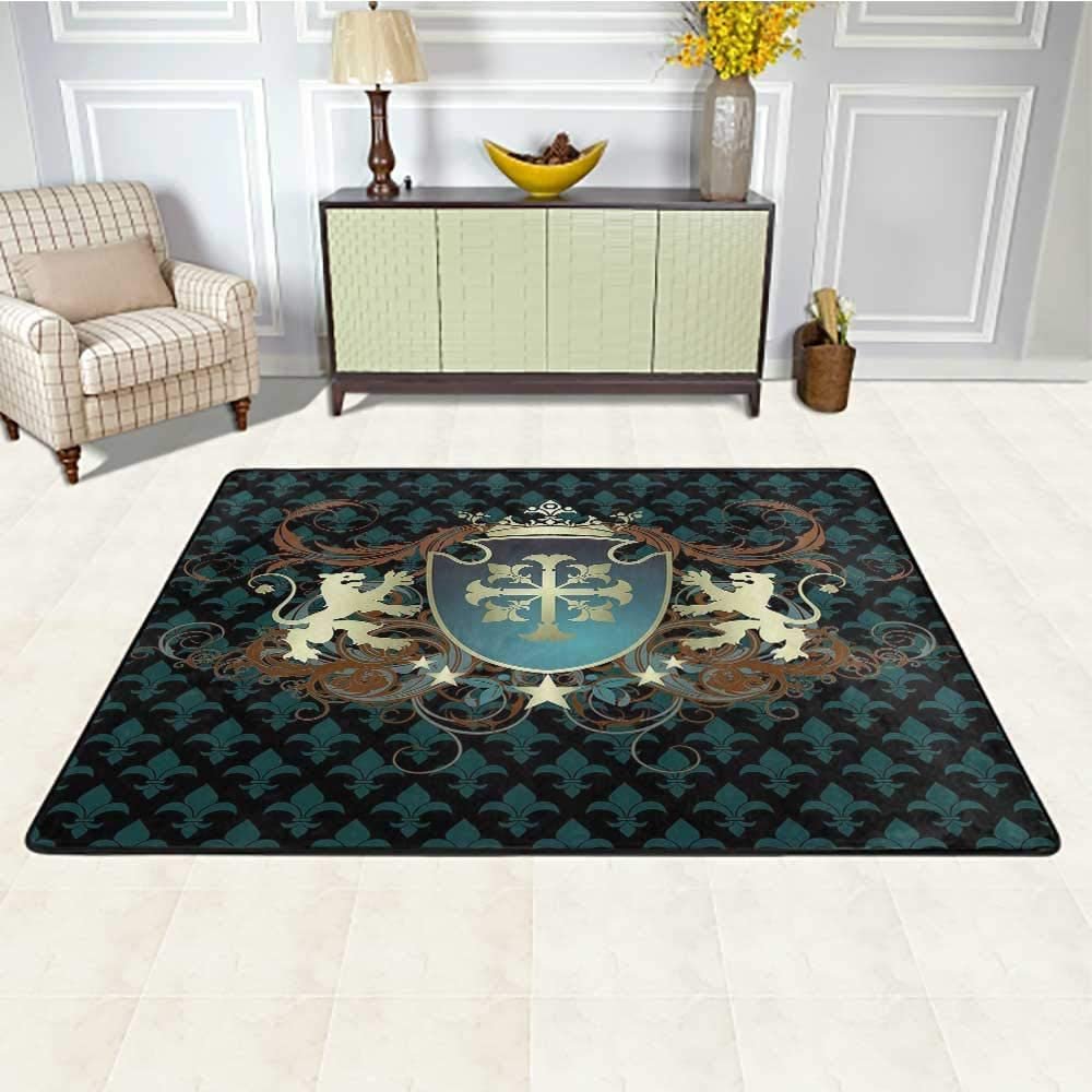 Medieval Rugs and Carpets 2' x 3', Heraldic Design from Middle Ages Coat of Arms Crown Lions and Swirls Kids Carpet, Teal Black Cinnamon