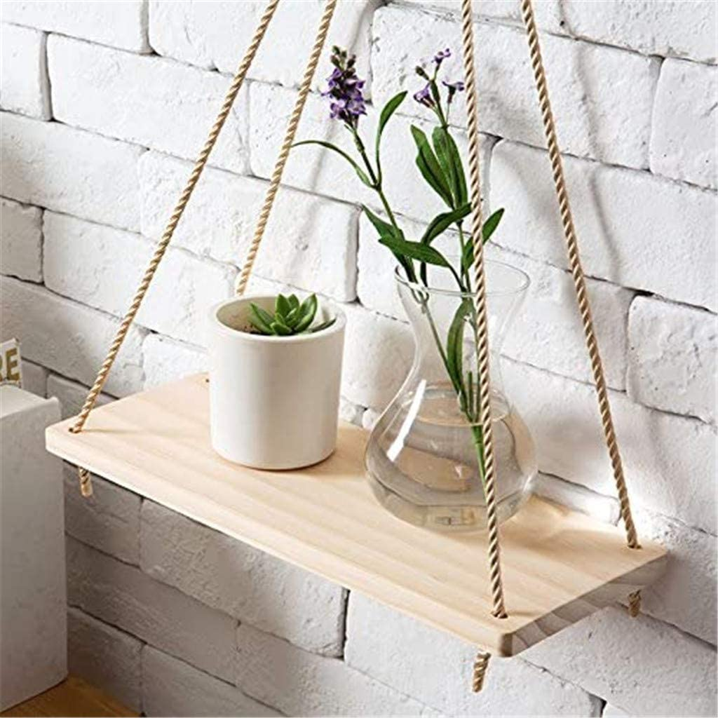 Trimakes Plant Stand for Flower Pot Holder Indoor Outdoor Wooden Garden Container Supports Rack for Planter, Potted Stand Display Rack,Hanging Rope Wall Mounted Floating Shelves (White)