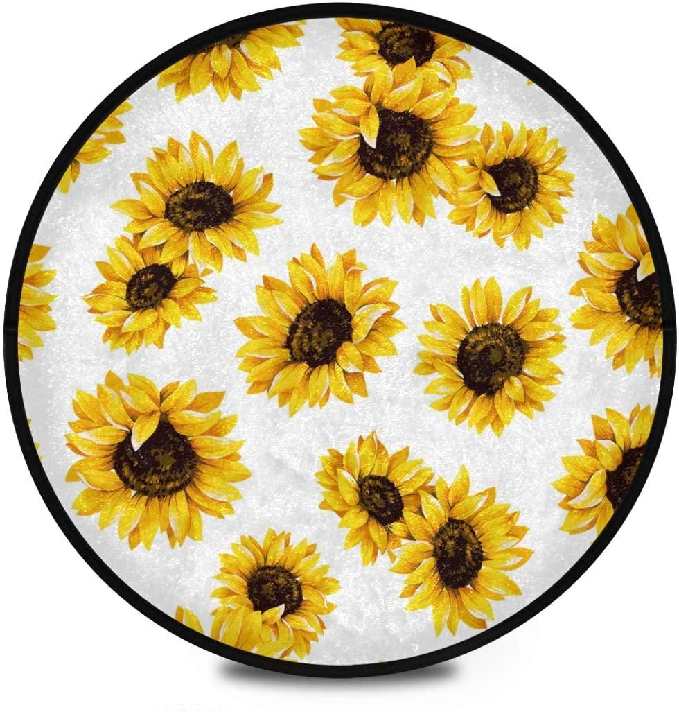 Shaggy Round Mat Yellow Vibrant Sunflowers Pattern Round Rug for Kids Bathroom Anti-Slip Rug Room Carpets Play Mat