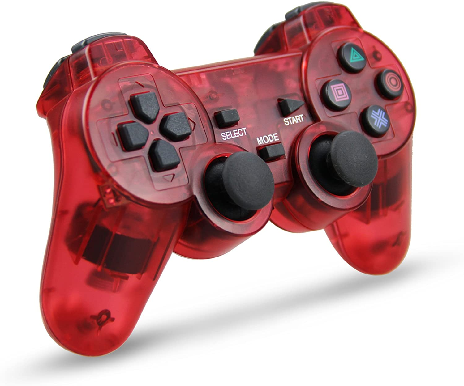 Wireless Game Controller, Double Shock Gamepad for Sony PS2 Playstation 2 (Clear Red)
