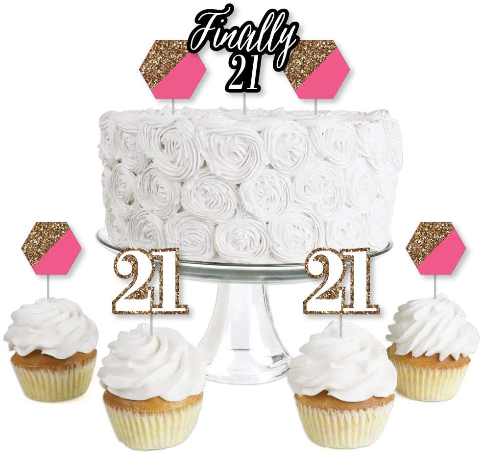 Finally 21 Girl - 21st Birthday - Dessert Cupcake Toppers - 21st Birthday Party Clear Treat Picks - Set of 24