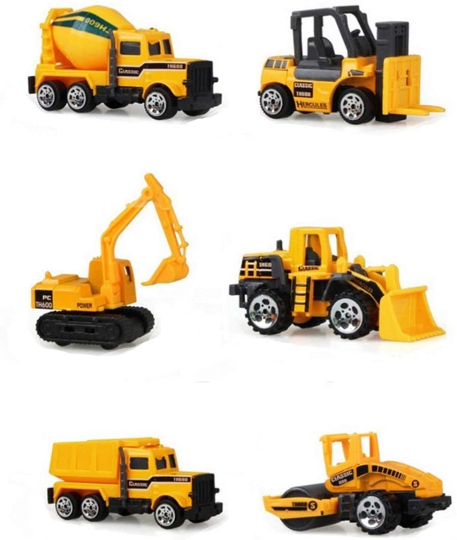 Halloluck 6 Pcs Inertia Toy Early Engineering Vehicles Truck Cars Toys Friction Powered Kids Dumper, Bulldozers, Forklift, Tank Truck, Asphalt Car and Excavator Toy for Children Kids Boys and Girls