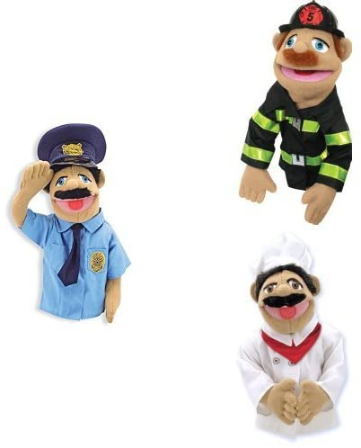 Melissa & Doug Ventriloquist Style Puppet 3-Pack - Police Officer, Firefighter, Chef