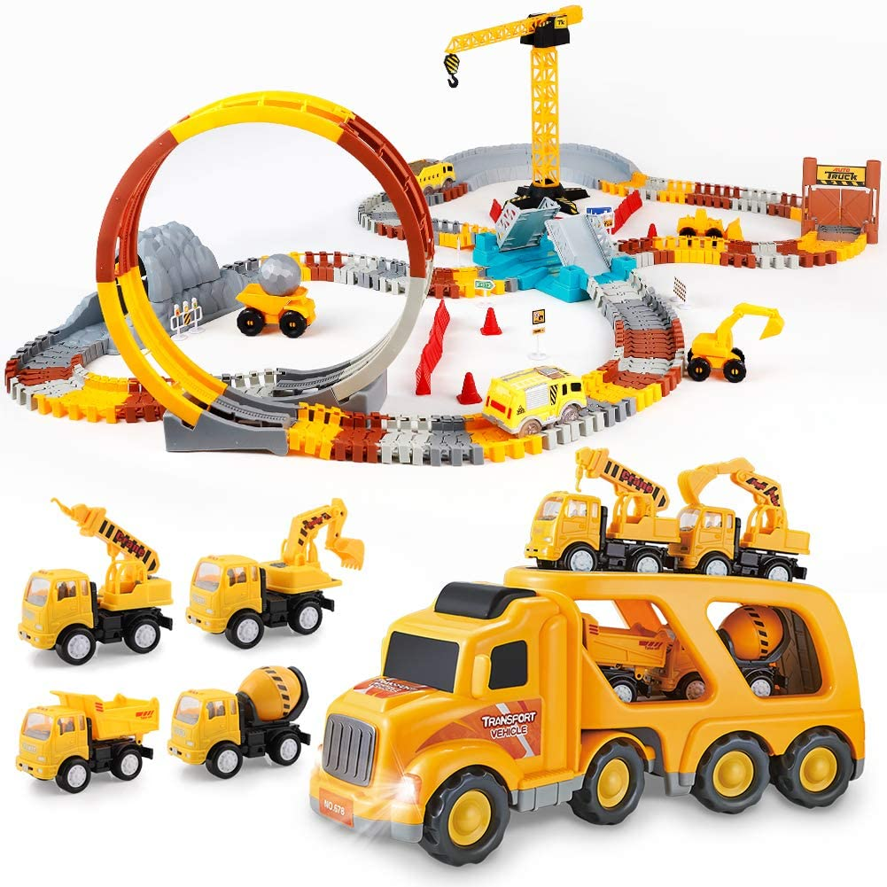226pcs Race Tracks Set and 5pcs Construction Truck Set Bundle