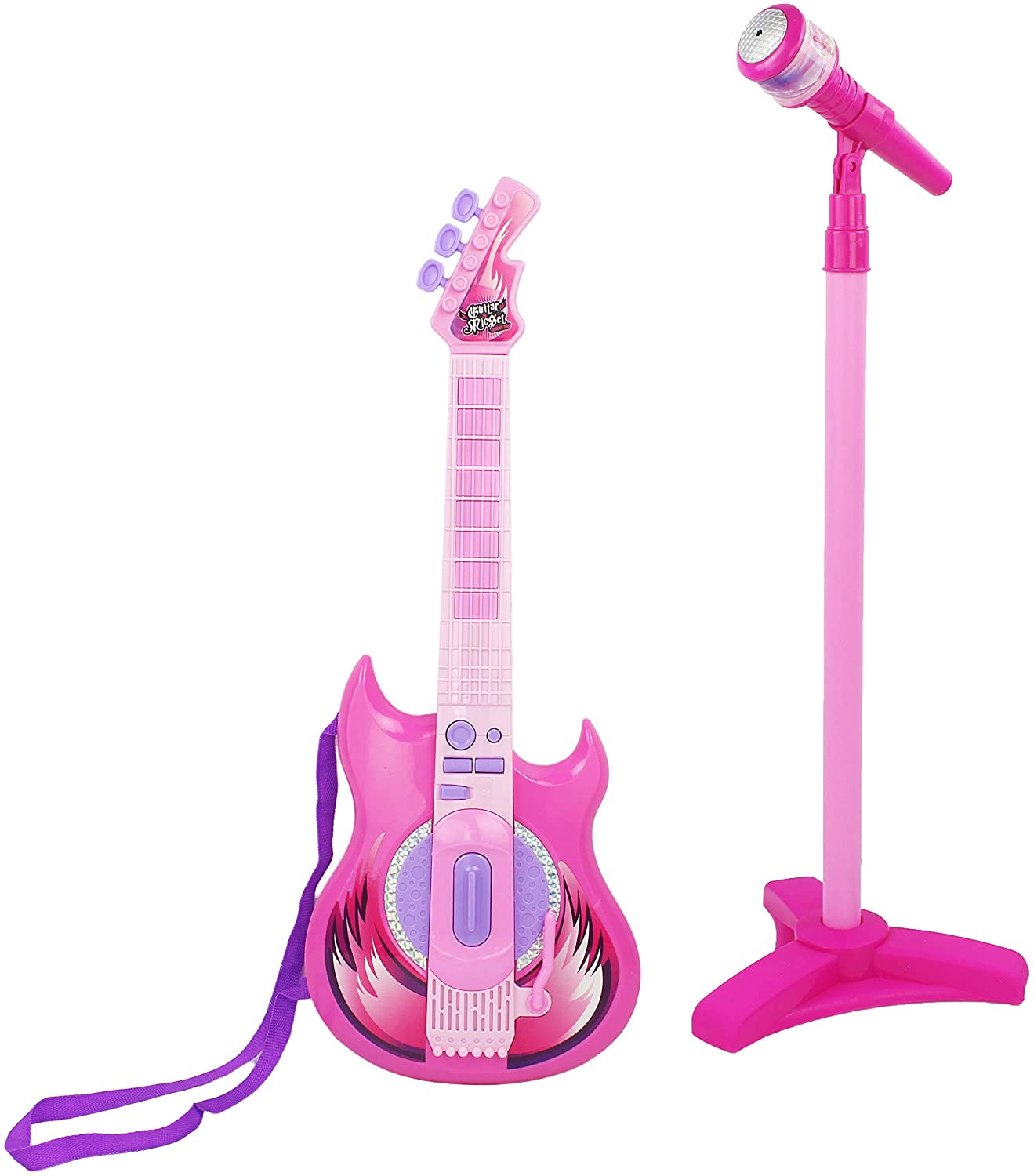 AJ Toys & Games Battery Operated Musical Instrument Playset with Toy Electric Guitar & Microphone, Be A Rockstar!