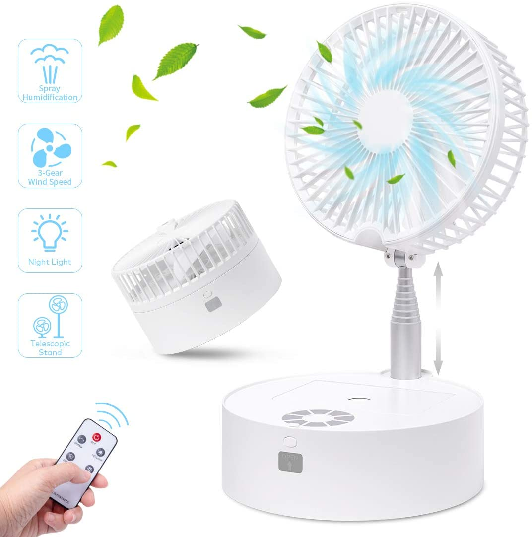 Portable Fan Oscillating Fan, Aircover Small Standing Up Floor Fan, Rechargeable Table Fan Quiet with Remote Night Light Air Humidifier, 3 Speeds, Telescopic Stand, for Bedroom Desktop Camping Dorm