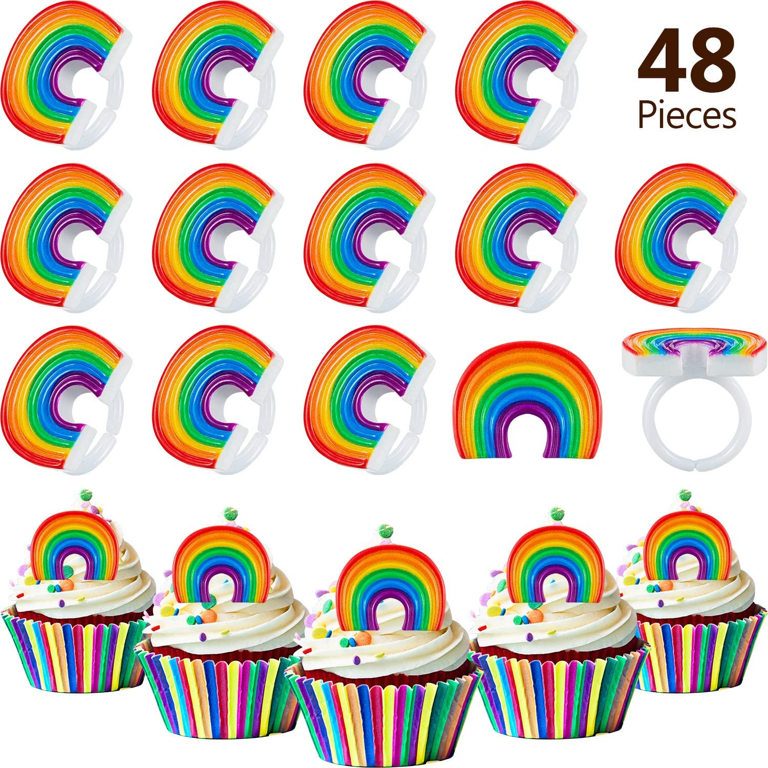 BBTO 48 Pieces Rainbow Cupcake Rings Rainbow Ring Cake Decoration Rainbow Topper Ring for Birthday Party Supply