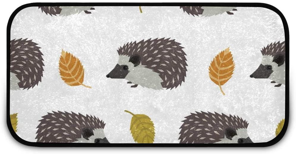 Rectangle Shaggy Rug Runner Carpet for Kids Hedgehogs Leaves Inside Floor Anti-Slip Rug Rectangle Carpet Play Mat