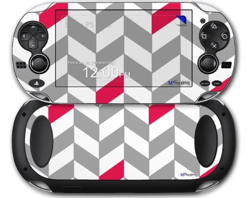 Chevrons Gray And Raspberry - Decal Style Skin fits Sony PS Vita
