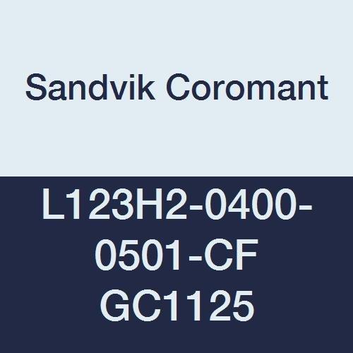 Sandvik Coromant CoroCut 2-Edge Carbide Parting Insert, GC1125 Grade, Multi-Layer Coating, CF Chipbreaker, 2 Cutting Edges, L123H2-0400-0501-CF, 0.0059