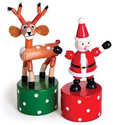 Jack Rabbit Wooden Holiday Push Puppets, Set of 2